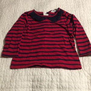 Lace collar striped tee